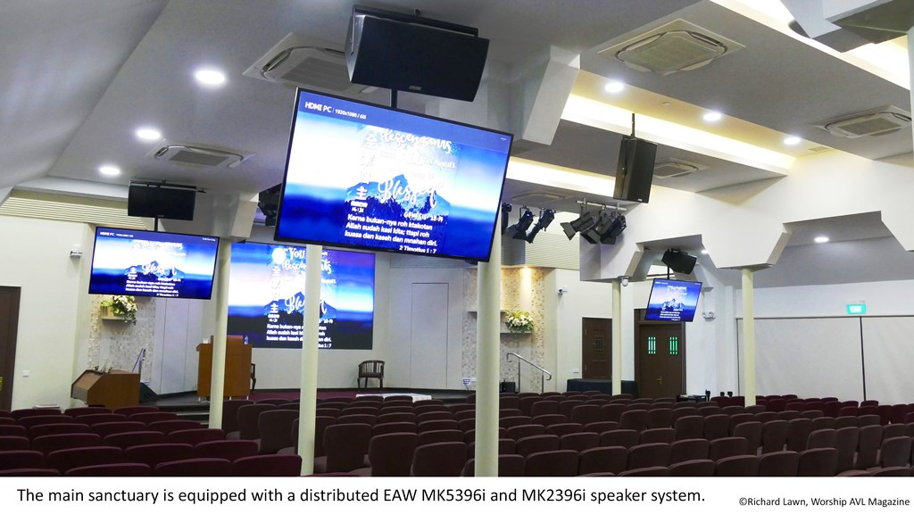 The main sanctuary is equipped with a distributed EAW MK5396i and MK2396i speaker system